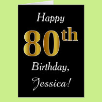 Simple Faux Gold 80th Birthday   Custom Name Card