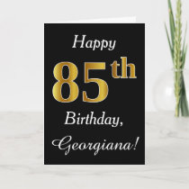 Simple Faux Gold 85th Birthday Custom Name Card