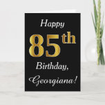 [ Thumbnail: Simple Faux Gold 85th Birthday + Custom Name Card ]