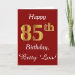 [ Thumbnail: Simple Faux Gold 85th Birthday + Custom Name Card ]