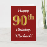 [ Thumbnail: Simple Faux Gold 90th Birthday + Custom Name Card ]
