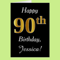 Simple Faux Gold 90th Birthday   Custom Name Card