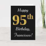 [ Thumbnail: Simple Faux Gold 95th Birthday + Custom Name Card ]