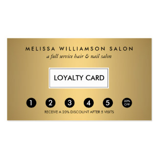 Simple Faux Gold Customer Loyalty Punch Card Double-Sided Standard Business Cards (Pack Of 100)