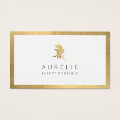 Simple Faux Gold Floral Luxury Boutique Business Card at Zazzle