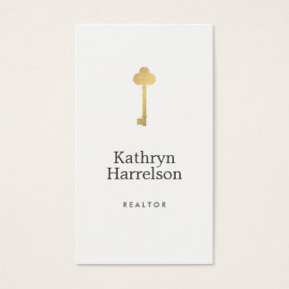 Simple Faux Gold Key Realtor Logo Business Card