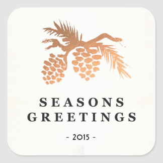 Simple Faux Rose Gold Pine Cone Holiday Square Sticker