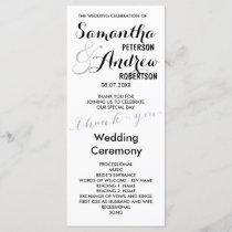 Simple faux silver foil chic Wedding Program