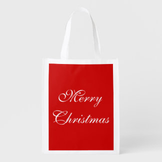 Simple Festive Merry Christmas Happy Holidays Word Reusable Grocery Bag