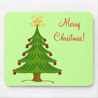 Simple Festive Merry Christmas Tree with Gold Star Mouse Pad