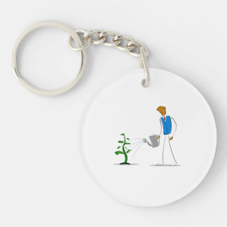 simple figure watering money tree.png Double-Sided round acrylic keychain