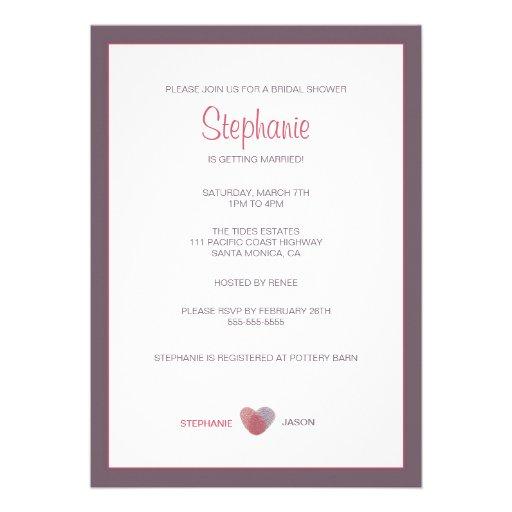 Simple Finger Print Heart Bridal Shower Invitation