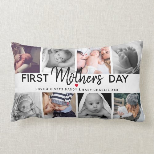 Simple First Mother's Day Picture Collage   Mommy Lumbar Pillow