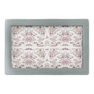 Simple Floral and Shapes on White Belt Buckle