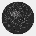 Simple Floral - Beutiful Lotus 丸形シールステッカー
