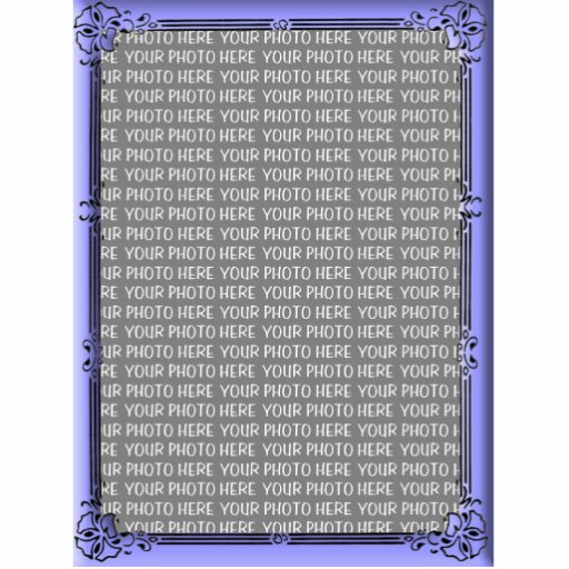 Simple Floral Blue Custom Photo Frame Cut Out
