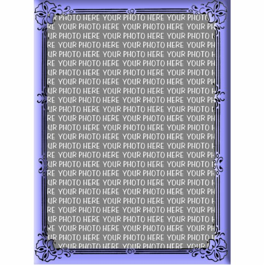 Simple Floral Blue Custom Photo Frame Statuette