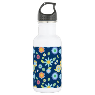 Simple Floral-blue Water Bottle
