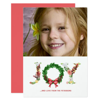 Simple floral Christmas wreath joy script photo Card