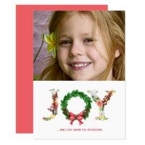 Simple floral Christmas wreath joy script photo Holiday Card