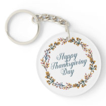 Simple Floral Happy Thanksgiving   Keychain