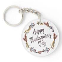 Simple Floral Happy Thanksgiving | Keychain