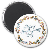 Simple Floral Happy Thanksgiving | Magnet