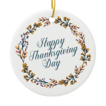Simple Floral Happy Thanksgiving | Ornament