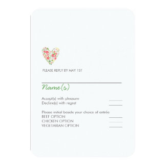 Simple Floral Heart Wedding Response Card