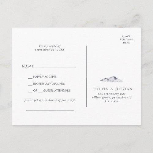 Simple Floral Mountain Song Request RSVP Postcard