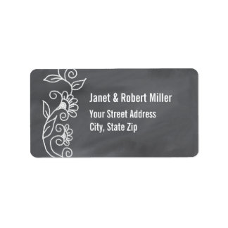 Simple Floral Pattern On Chalkboard Address Label