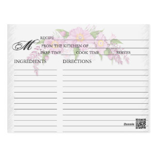 Simple Floral Pink Recipe Cards