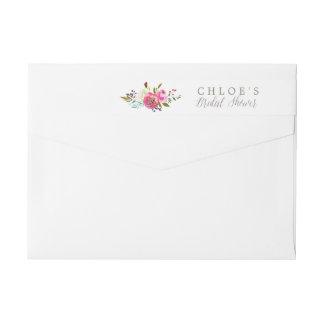 Simple Floral Watercolor Bouquet Bridal Shower Wrap Around Label