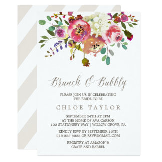 Simple Floral Watercolor Bouquet Brunch and Bubbly Card