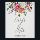 "Simple Floral Watercolor Bouquet Cards &amp; Gifts Poster<br><div class=""desc"">This simple floral watercolor bouquet cards and gifts poster is perfect for a classic and elegant wedding or bridal shower. The design features an arrangement of pink, peach and purple peonies with white hydrangeas and an ivory cream calligraphy font. The line of text at the bottom of the sign can...</div>"