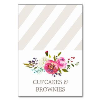 Simple Floral Watercolor Bouquet Food Tent Cards