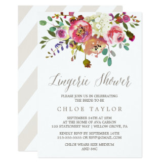 Simple Floral Watercolor Bouquet Lingerie Shower Card