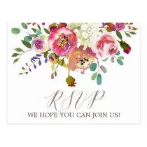 Simple Floral Watercolor Bouquet Menu Choice RSVP