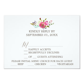 Simple Floral Watercolor Bouquet Menu Choice RSVP Card
