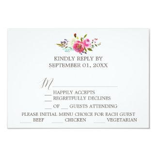 Simple Floral Watercolor Bouquet Menu Choice RSVP Card