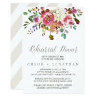Simple Floral Watercolor Bouquet Rehearsal Dinner Invitation