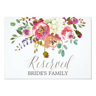 "Simple Floral Watercolor Bouquet ""Reserved"" Sign Card"