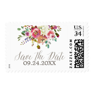 Simple Floral Watercolor Bouquet Save the Date Postage
