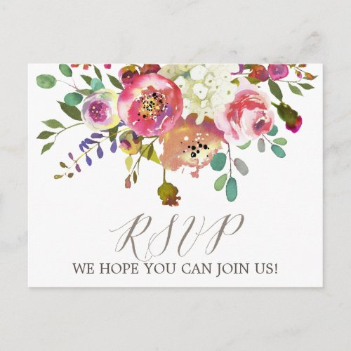 Simple Floral Watercolor Bouquet Song Request RSVP Invitation Postcard