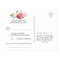 Simple Floral Watercolor Bouquet Song Request RSVP Postcard
