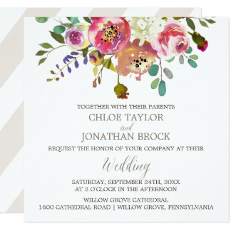 Simple Floral Watercolor Bouquet Square Wedding Card