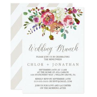 Simple Floral Watercolor Bouquet Wedding Brunch Invitation