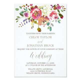 Rustic Watercolor Floral Wedding Invitations