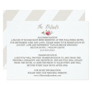 Simple Floral Watercolor Bouquet Wedding Details Card