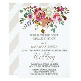 Simple Floral Watercolor Bouquet Wedding Invitation